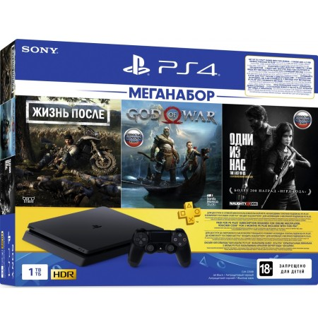 PlayStation 4 Slim 1Tb (РОСТЕСТ CUH-2208B) + Days gone, God of war, Одни из нас, PS+ 3 подписка мес, фильмы Okko на 30 дней