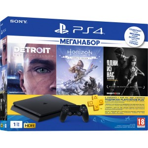 PlayStation 4 Slim 1Tb + Detroit: Become Human, Horizon: Zero Dawn, The Last of Us, PS+ подписка 3 мес, фильмы Okko на 30 дней