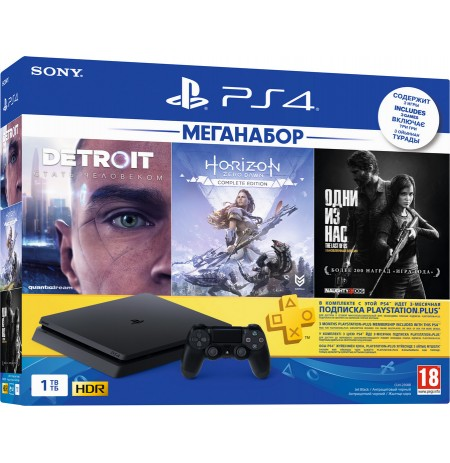 PlayStation 4 Slim 1Tb (РОСТЕСТ) + Detroit: Become Human, Horizon: Zero Dawn, The Last of Us, PS+ 3 мес, Okko 30 дней