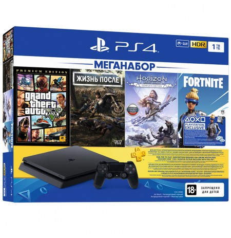 PlayStation 4 Slim 1Tb (РОСТЕСТ CUH-2208B) + GTA 5, Жизнь После, Horizon: Zero Dawn, Fortnite, PS+ 3 подписка мес, фильмы Okko на 30 дней